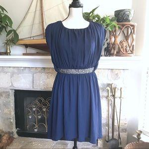 Asos ruched beaded waist open back mini dress